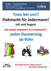 Jeden Donnerstag ist ab jetzt Flohmarkt im Innenhof von issba!